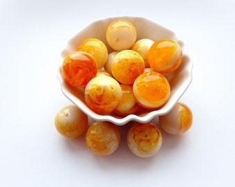 2pcs AMBER Color Yellow Beads 25mm White Yellow Resin Beads Large Round Beads Focal Acrylic Bead Jewelry Supplies