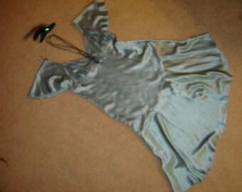 1920s Costume Flapper Roaring Twenties Gatsby aqua silk charmuse dress  women 14