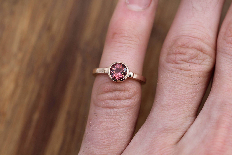 Pink Tourmaline Bezel Ring in 14 kt Rose Gold - Alternative Ring ...