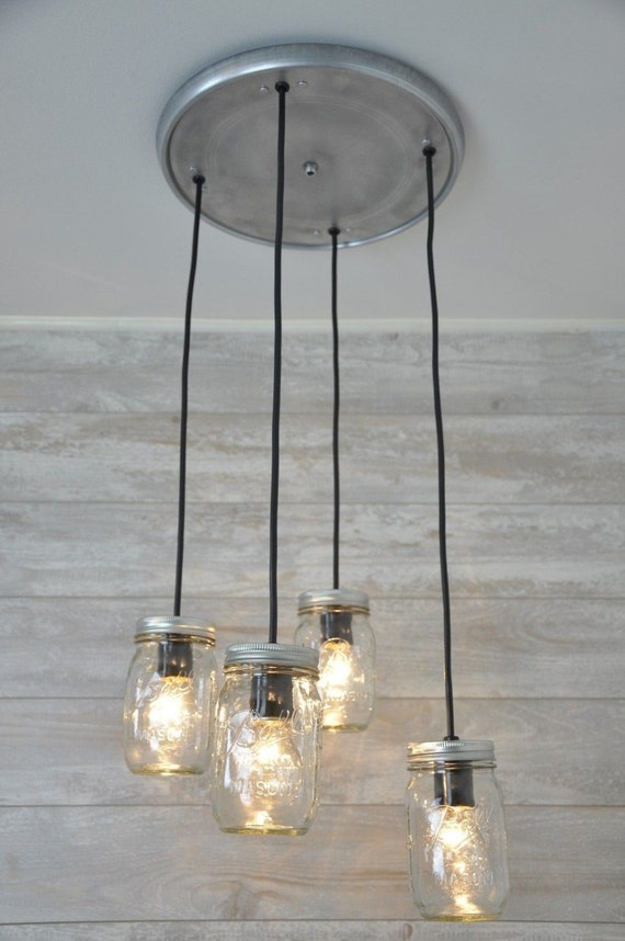 Mason Jar Chandelier Pendant Light Fixture Hanging Mason