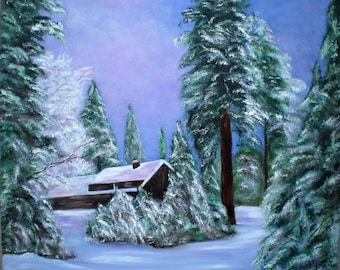 "Painting on canvas ""Winter sunset"""