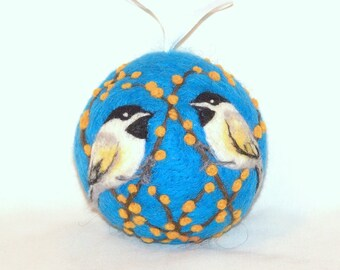 Needle Felted Christmas Ornaments Chickadee Birds - Turquoise - Bird Ornaments - Bird on Berry Bush - Felt Christmas Ornament - Gift Item