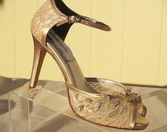 Champagne Gold lace Wedding shoes, Peep Toe 3 1/2 inch heels,Bling Bride, Gold Lace Heels, Ankle Strap, See Thru