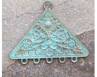 Floral Triangle Chandelier Pendant brass patina green 58x45mm, 1 pc