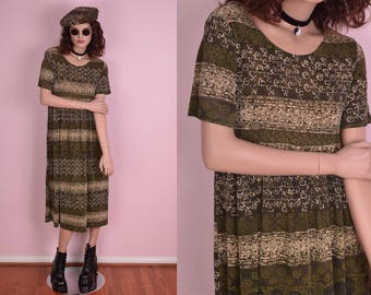90s Olive Flowy Floral Print Dress/ Medium/ 1990s/ Short Sleeve