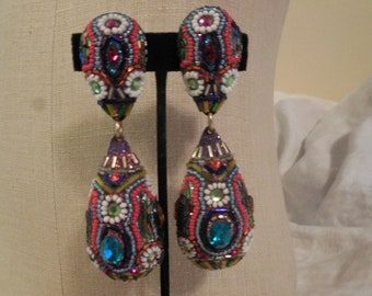 Vintage 1970s to 1980s Huge/Large Retro Glass Beaded/Rhinestone Clip on Earrings Drops/Dangle Multi Colored Funky Chunky Non Pierced Costume
