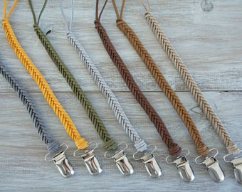 Braided Leather Pacifier Clip 11 colors