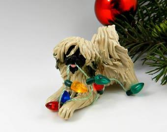 Pekingese Christmas Ornament Figurine Lights Porcelain