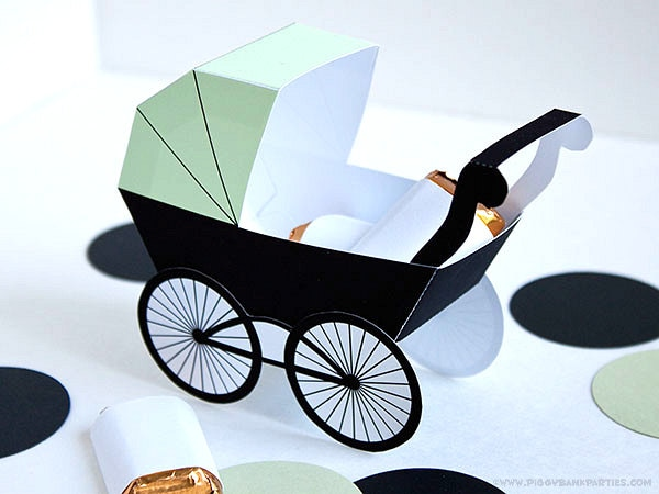 Baby Carriage Favor Box - Light Green & Black : DIY Printable Baby ...