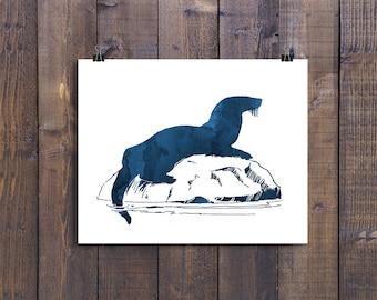 Otter print, otter art, otter prints, wall art, printable, animal prints, sea otter, watercolor pictures, nursery decor, dark blue, 8x10