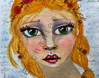 Princess with big eyes and roses in her golden braids, S&H INCLUDED