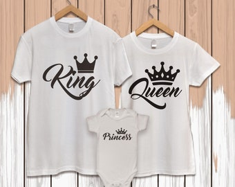 King and queen, pärchen t-shirts, couples shirts, family shirts, family t shirt, matching family shirts, his and her shirts, princess tshirt