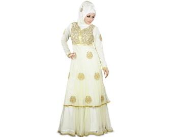 MyBatua Designer flammte Abaya mit Goldstickerei, Parteiabnutzung Maxi, Moslemkleid Burka, islamische Frauenkleidung AY-358 auf