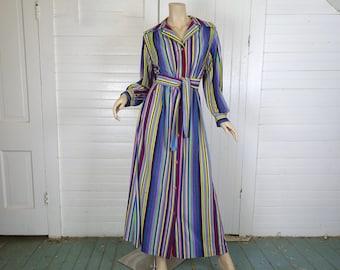 70s Terry Robe in Rainbow Stripes- 1970s Loungewear / Swimsuit Coverup / Beach / Disco / Maxi Dress - Medium