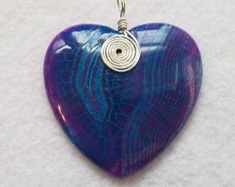 Natural Dragon Veins Agate Heart Stone Purple and Blue Silver Wire Wrap w/ Faux Suede Necklace