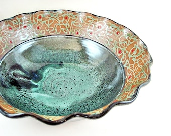 Large Handmade pottery serving bowl , Decorative Ceramic Bowl, for Pasta and salad - In stock 80 SB M