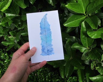 Pastel Blue Feather Watercolour Card, Feather Illustration, Pastel Blue And Green
