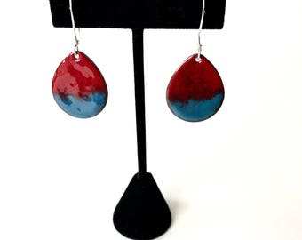 Blue and Red Enamel Earrings - Teardrop