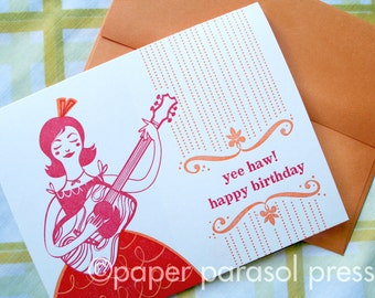 Yee Haw Happy Birthday Folk Inpsired Letterpress Card