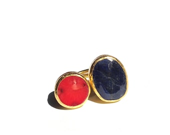 Coral and Sapphire Ring