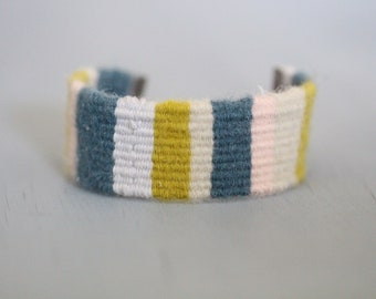 Woven Cuff Bracelet, Cuff Bracelet, Fabric Cuff, Woven, Wool, Blue, Green, Pink, Gray,  Poetry Fiber Art