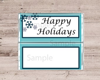 Happy Holidays Chocolate Bar Covers-Happy Holiday Candy Wrappers-Chocolate and Candy Bar Wrappers-Happy Holidays Candy-Blue Candy Wrappers