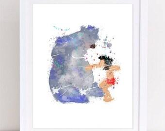 70% Jungle Book Print Mowgli Print Watercolor Baloo Print Watercolor disney printable nursery decor baby shower kids decor nursery printable