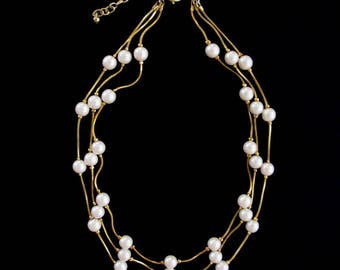 Vintage Gold Tone & Pearl Triple Strand Choker Necklace