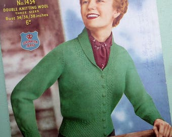 Original Vintage 1940s 1950s Knitting Pattern Women's Cardigan fitted style with collar - 40s 50s Knitwear Ladies Sports Jacket Sirdar 1434