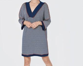 long sleeve tunic dress - v neck dress - knee length dress - striped dress - slip dress - oversized dress - loose dress - VNTunic