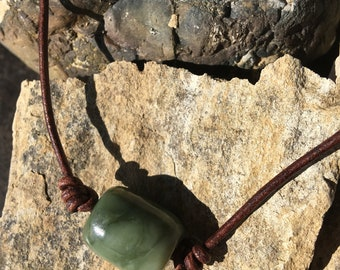 Northern California Botryoidal Jade Bead and Leather Necklace