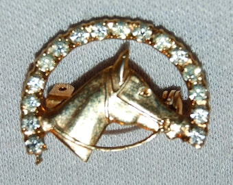 Rhinestone Brooch, Horse Clear, Vintage old jewelry