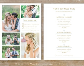 Wedding Photography Price List template - wedding sell sheet - pricing template for photographers