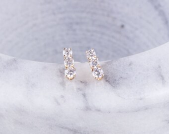 14K Gold Filled Three Cubic Zirconia Stud Earrings, Small CZ Studs, Gift for Her, Second Hole Piercings, CZ  Stud Earrings, Small Round Stud