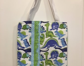 Dinos and Lace Flannel Book Bag Tote