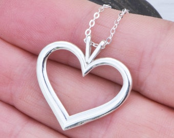 Silver Heart Pendant - Sterling Silver Heart - Heart Necklace - Silver Heart Jewelry -, Gift For Her