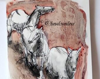 Original Charcoal Horses Art Horse sketch