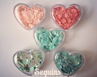 Loose Sequins in Peach & Mint for scrapbooking, card making, crafts