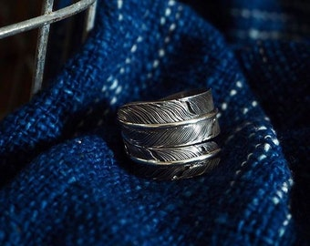 Sterling Silver 925 feather ring ( hand crafted)
