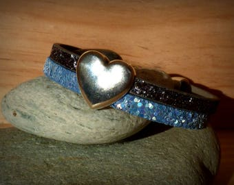 "Split cuff 10 mm cord strap bracelet leather ""glitter"" blue and Brown - woman/girl"
