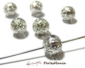 20 beads spacer 2N6713 lace platinum silver color metal