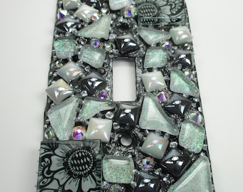 Mosaic Tile Mixed Media Art Switch Plate Single Toggle - Home Decor Mosaic Art Mixed Media Art - Glass Mosaic Art Switch Plate Handmade