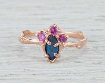 Teal Sapphire Ring. Cluster Ring. Cluster Engagement Ring. Marquis Sapphire Ring. Garland Cluster Ring. Yellow Gold, White Gold, Rose Gold.