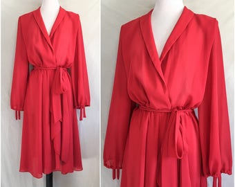Vintage 1970s Red Dress // 70s Miss Elliette Dress // Red Sheer Chiffon Long Bishop Sleeves // Cascade Wrap Dress W/ Sash Small Medium Large
