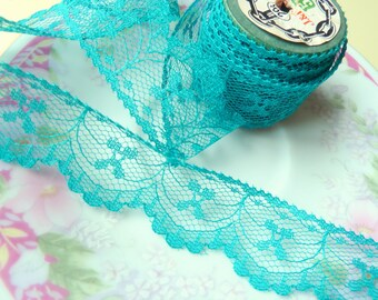 Vintage Teal Lace, Vintage Lace Trim, Scalloped Flower Lace in Teal with Bows, Flat Teal Lace, 5 Yards