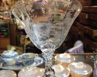Vintage Cambridge Crystal ETCHED Rose Point Pattern Stem #3121 6 oz Low Sherbet