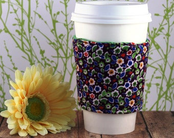 Fabric Coffee Cozy / Purple Flower Corduroy Coffee Cozy / Corduroy Coffee Cozy / Purple Coffee Cozy / Coffee Cozy / Tea Cozy