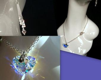 Swarovski Crazy 4 U Necklace and Earring set with Swarovski Heart Crystal
