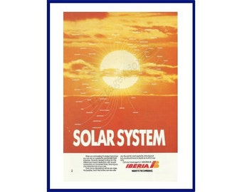 "IBERIA AIRLINES of SPAIN Original 1990 Vintage Color Print Ad - ""Solar System"""