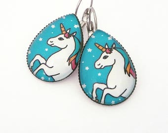 Unicorn dangle earrings Unicorn earrings Unicorn jewelry Unicorn drops Unicorn lover Unicorn lover gift Unicorn love Unicorn wedding